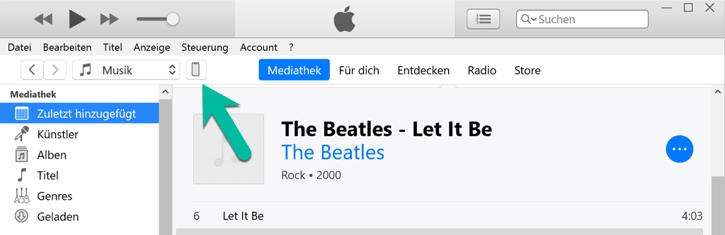iTunes auf das Gerät Symbol klicken