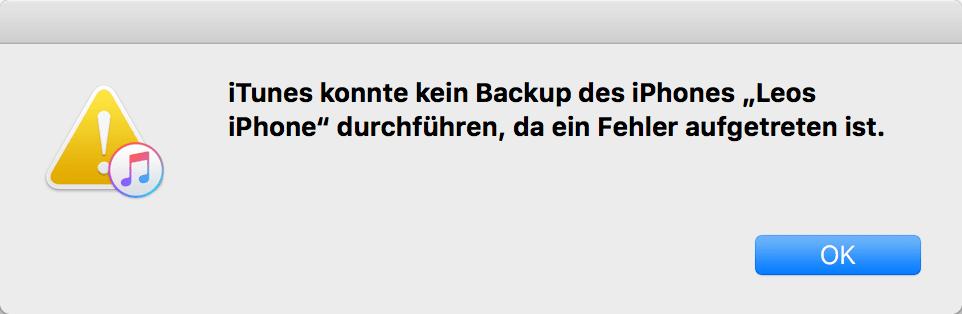 iTunes konnte kein Backup des iPhone durchführen da ein Fehler aufgetreten ist