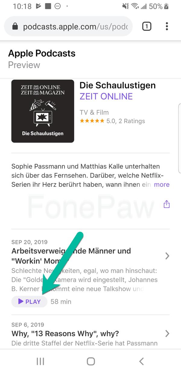 iTunes Podcast auf Android anhören