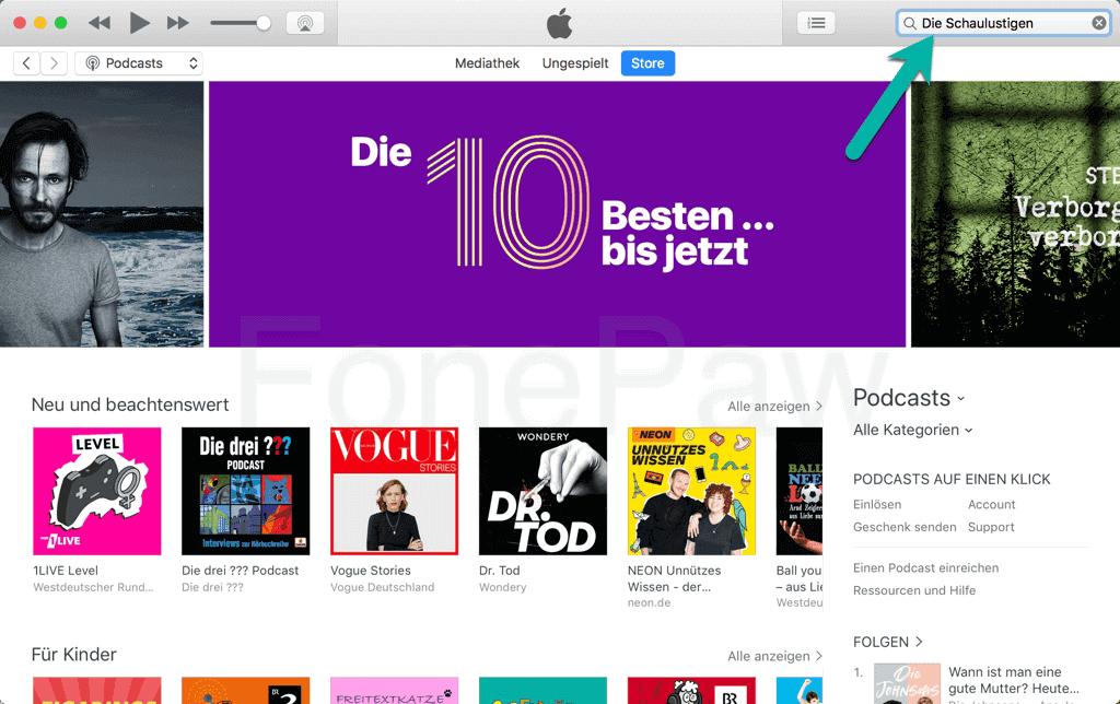 iTunes Podcast suchen