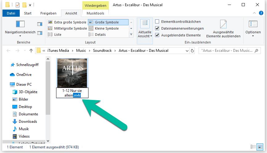 iTunes Titel M4A in M4R umwandeln