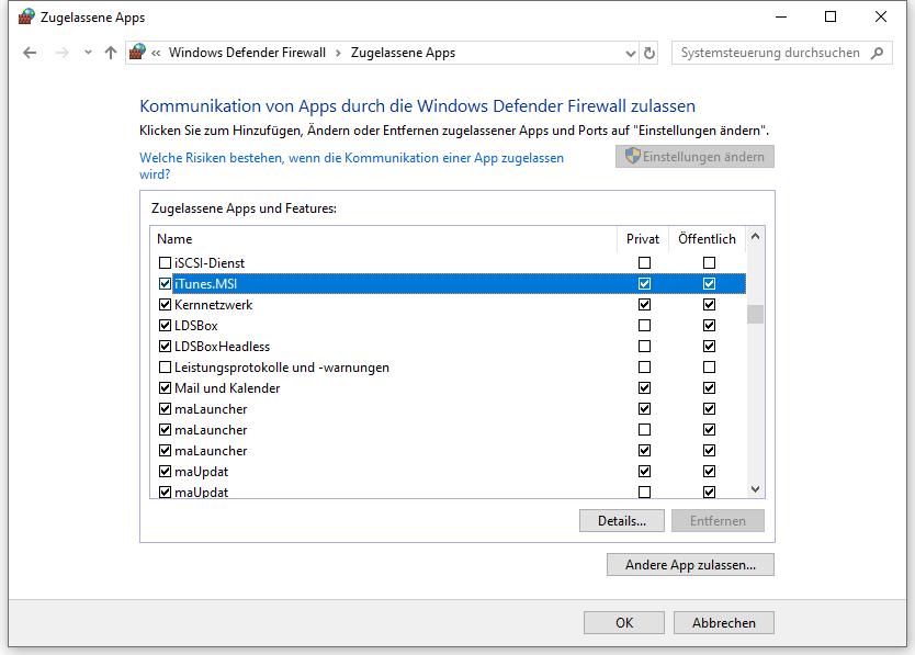 iTunes zulassen in Windows Firewall Defender