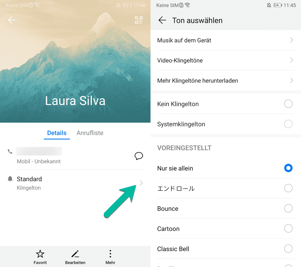 Klingelton für Kontakte Android