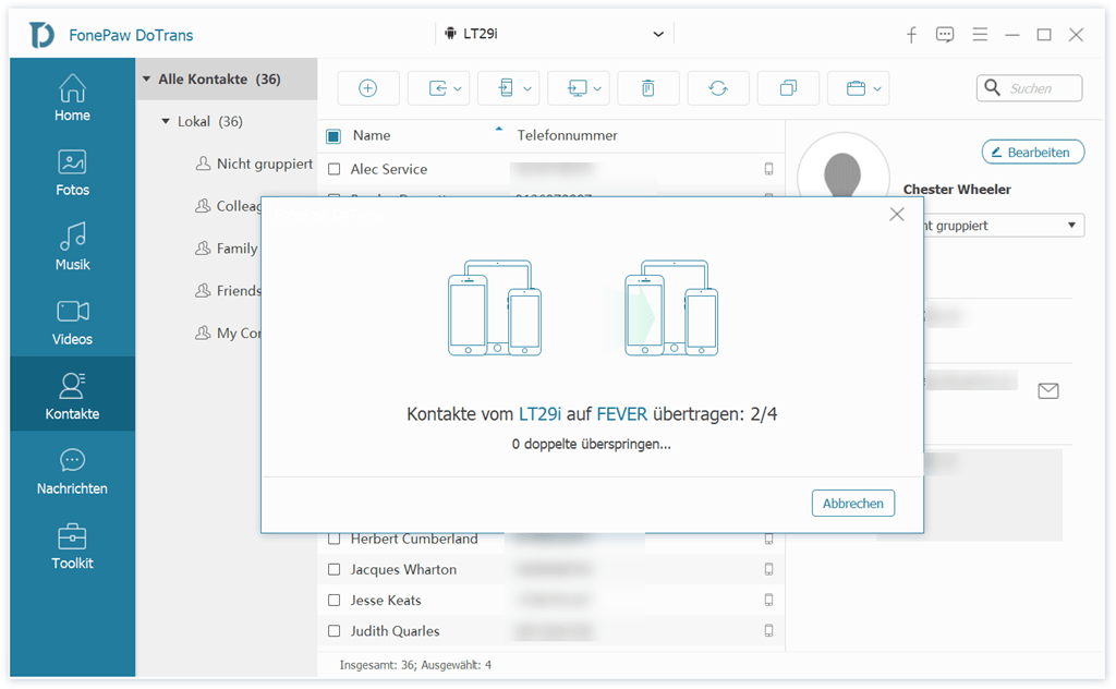 Übertragungsprozess der Dateien auf Samsung-Handy
