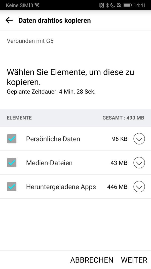 LG Mobile Switch Daten zum Kopieren auswählen