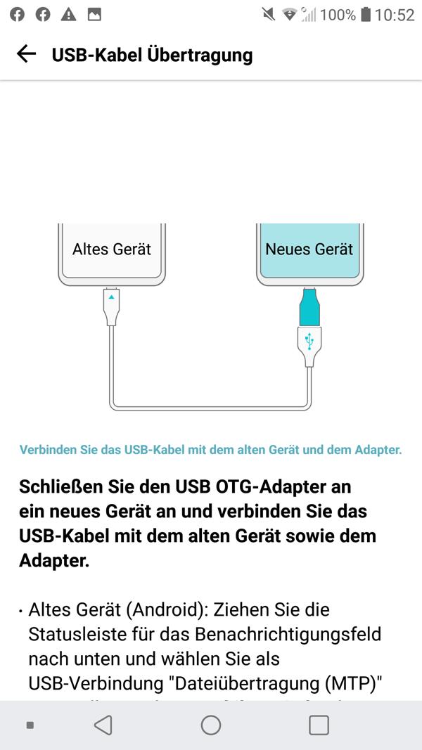 LG Mobile Switch USB-Kabel Übertragung