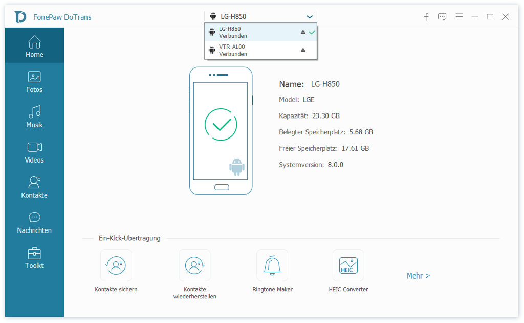 LG verbinden mit anderem Handy
