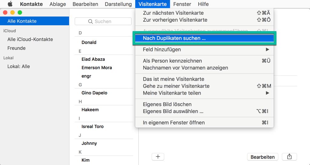 Mac nach Kontakte Duplikaten suchen