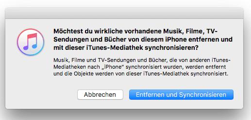 iPhone Musik entfernen und synchronisieren
