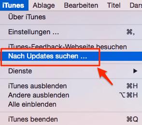 Nach Updates suchen iTunes Mac