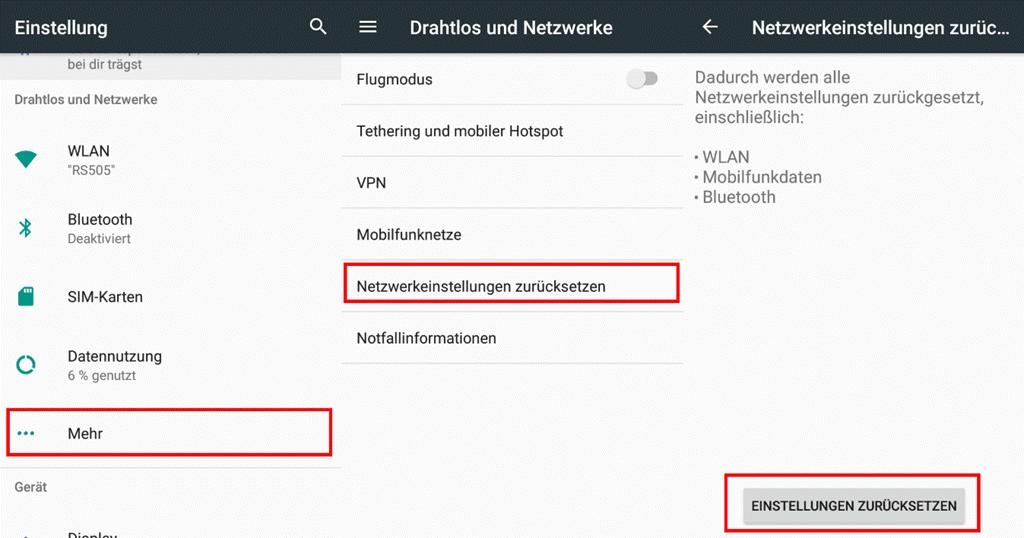 Netzwerkeinstellung zurücksetzen Android