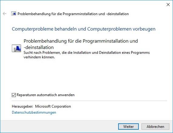Programminstallation und -deinstallation von Microsoft