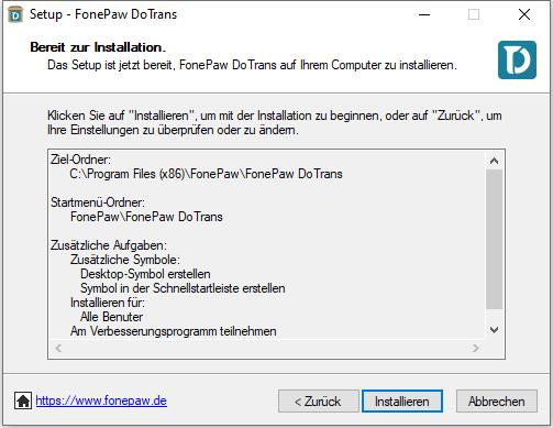 Klicken auf Installieren