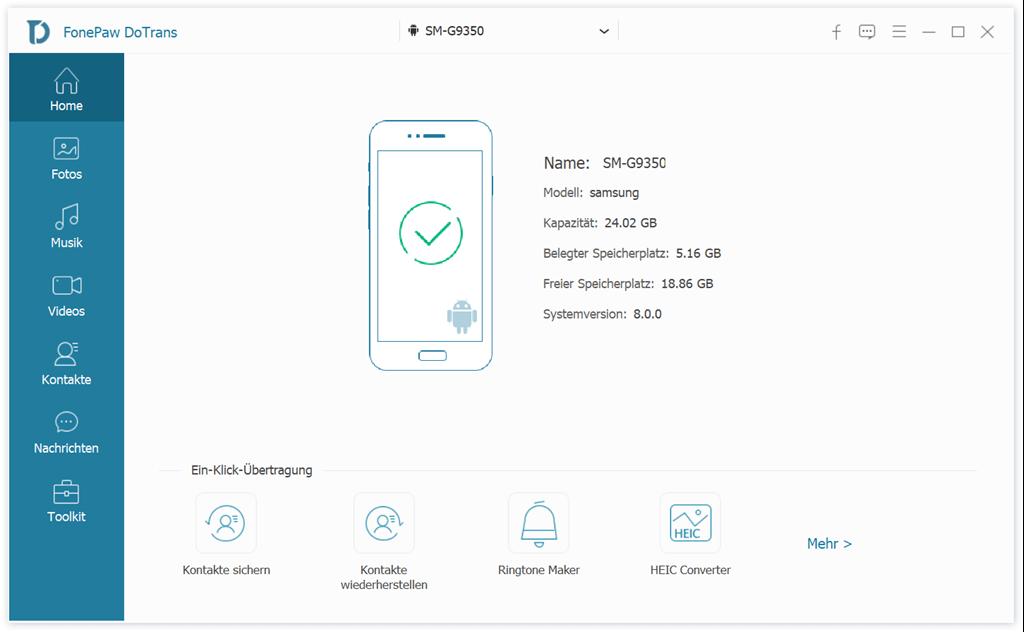 Android Handy verbinden mit DoTrans