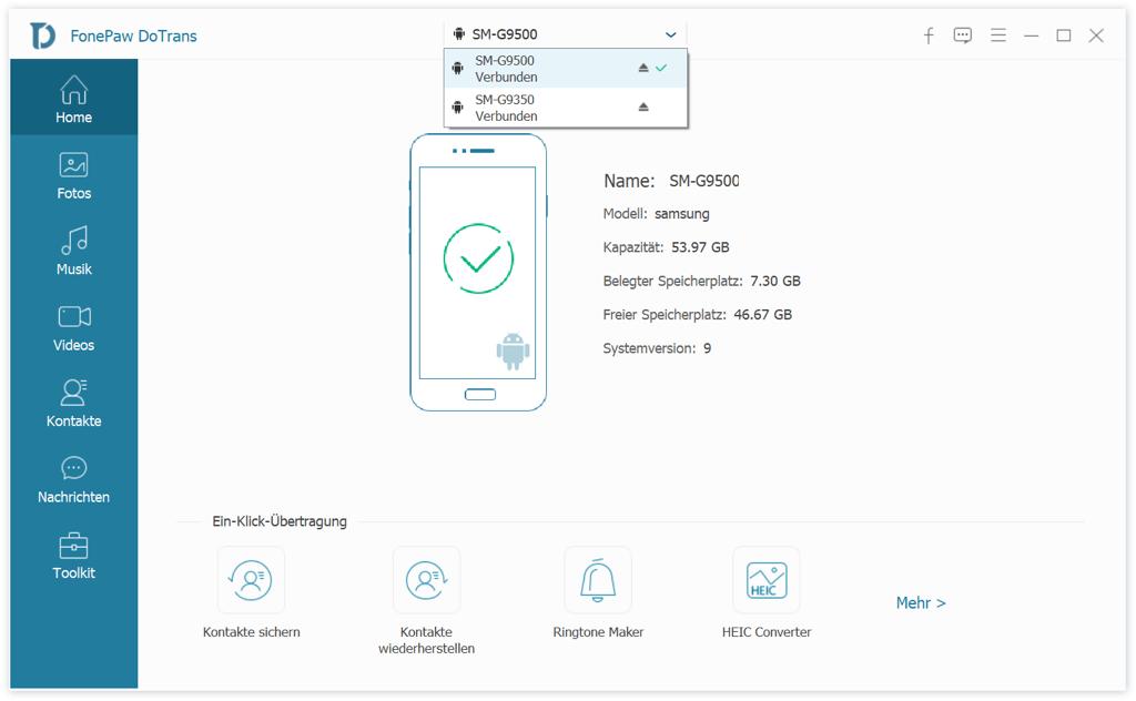 Die beiden Samsung Galaxy verbinden