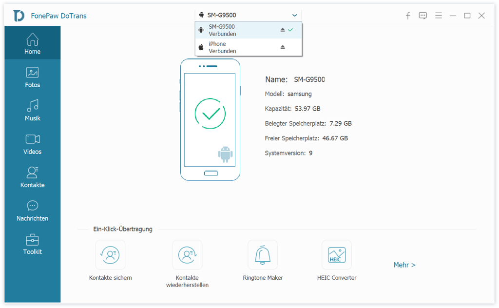 Die beiden Android Handy und iPhone verbinden