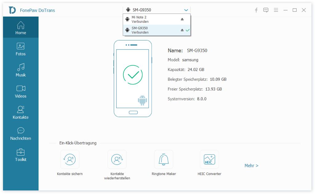 Samsung mit Xiaomi verbinden