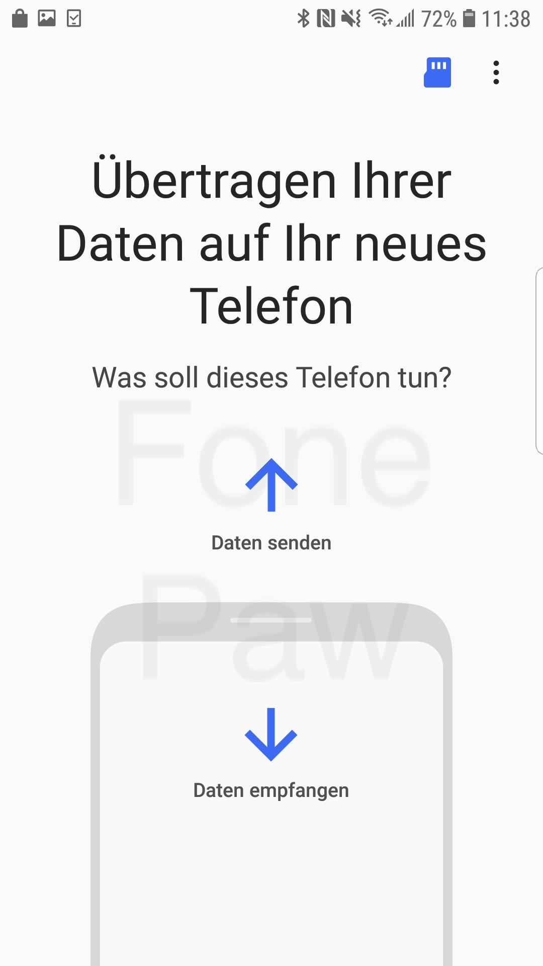 Datei senden oder empfangen Samsung Smart Switch