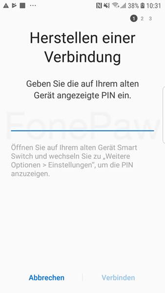 Samsung Smart Switch mit PIN-Code verbinden