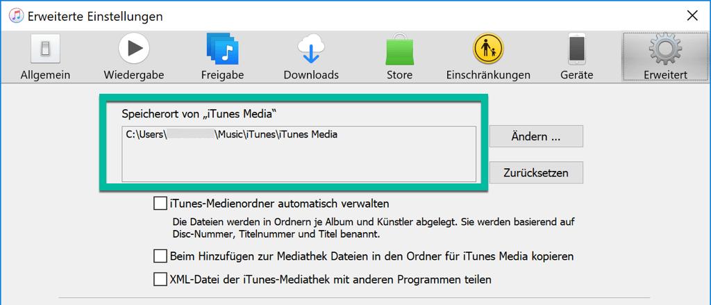 Speicherort von iTunes-Media überprüfen WIndows