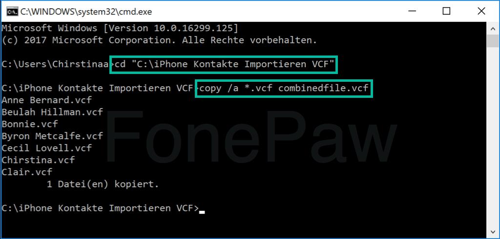 VCF-Dateien zusammenführen in CMD