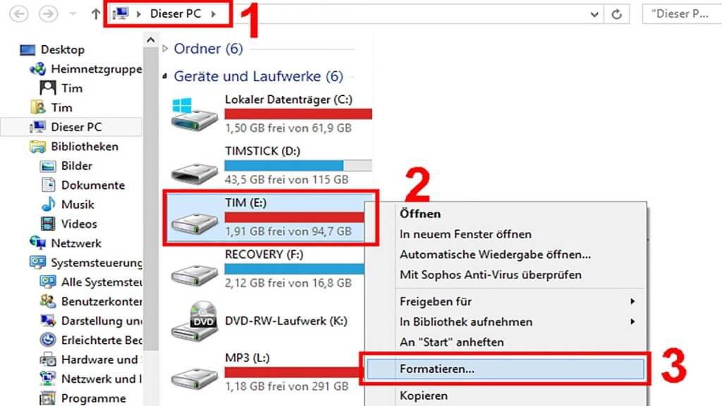 Festplatte auf Windows PC formatieren