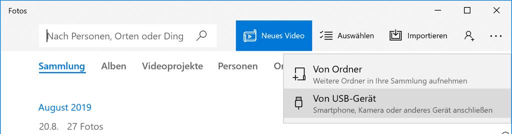 Windows Fotos App Importieren von USB-Gerät