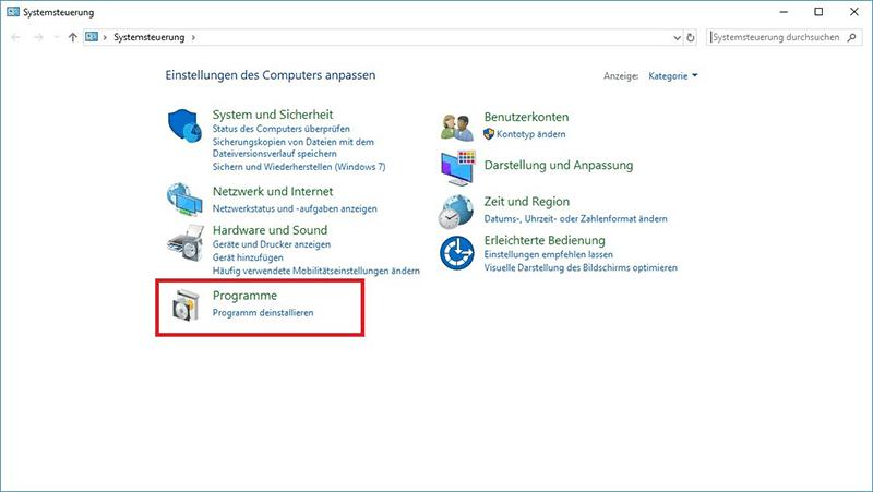Windows Programme deinstallieren