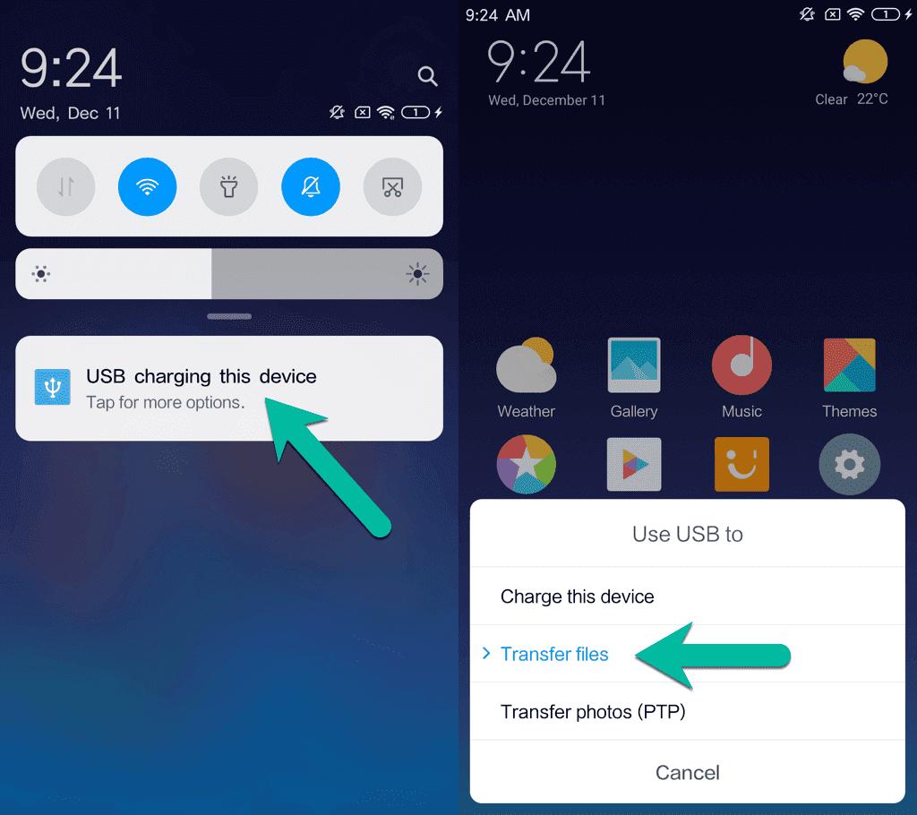 USB verwenden für Dateien übertragen