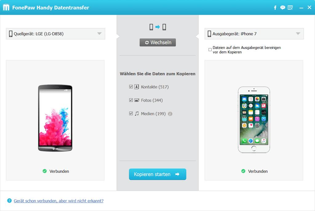 Wählen Sie die zu kopierende Kontakte aus