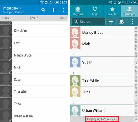 kopierte Kontakte auf beiden Android