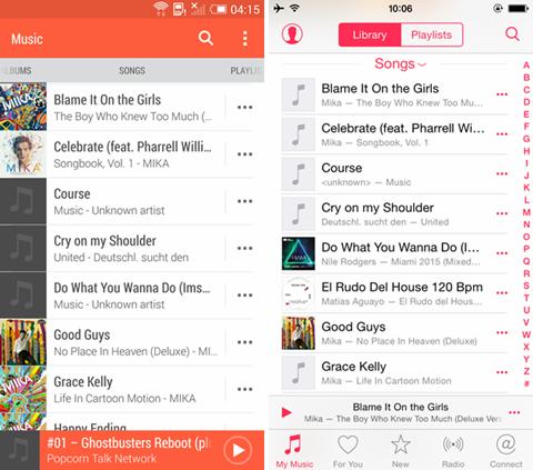 kopierte Musik auf iPhone