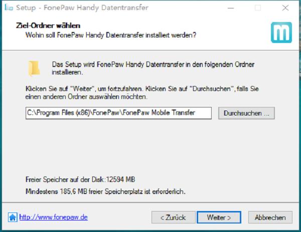 Fonepaw Handy Transfer gewunschte Stelle wählen