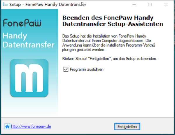 Fonepaw Handy Transfer Setup Assistent fertigstellen