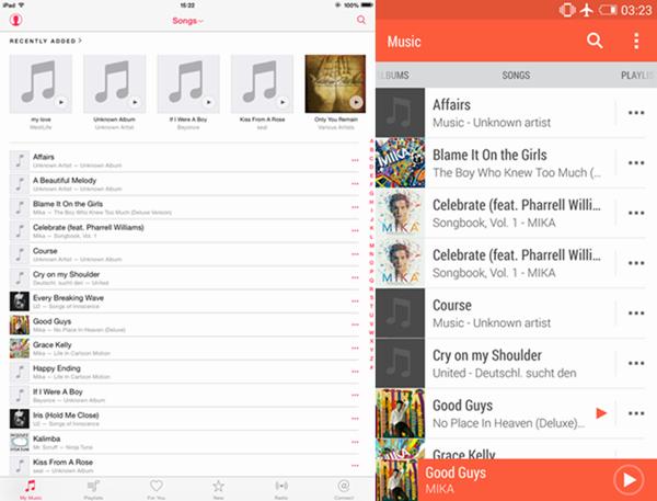 kopierte Musik auf beiden Geräte