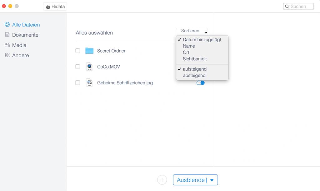 Mac-Dateien sortieren
