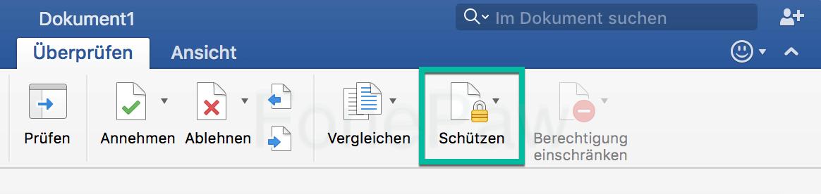 Word 2016 Dokument mit Passwort schützen auf Mac