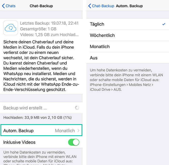 Automatisches Backup WhatsApp iPhone