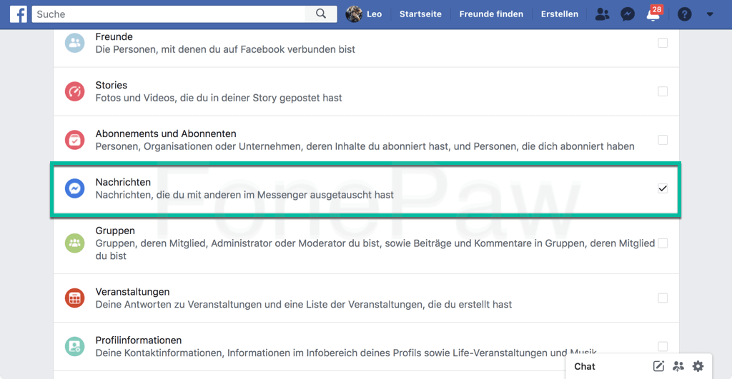 Facebook Messenger Nachrichten zum Sichern auswählen