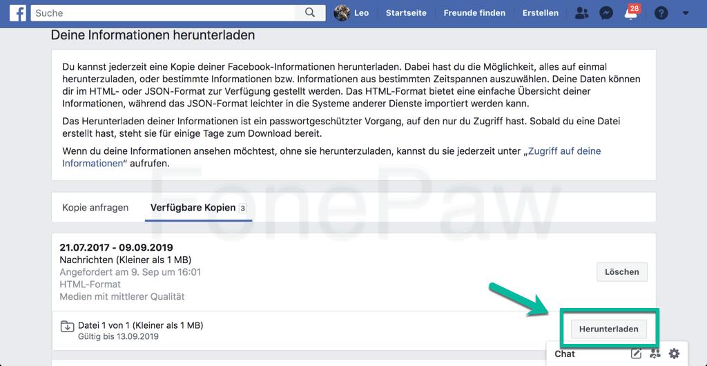Facebook Chat herunterladen