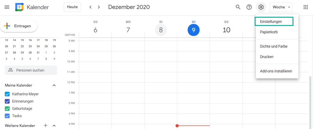 Einstellungen vom Google Kalender
