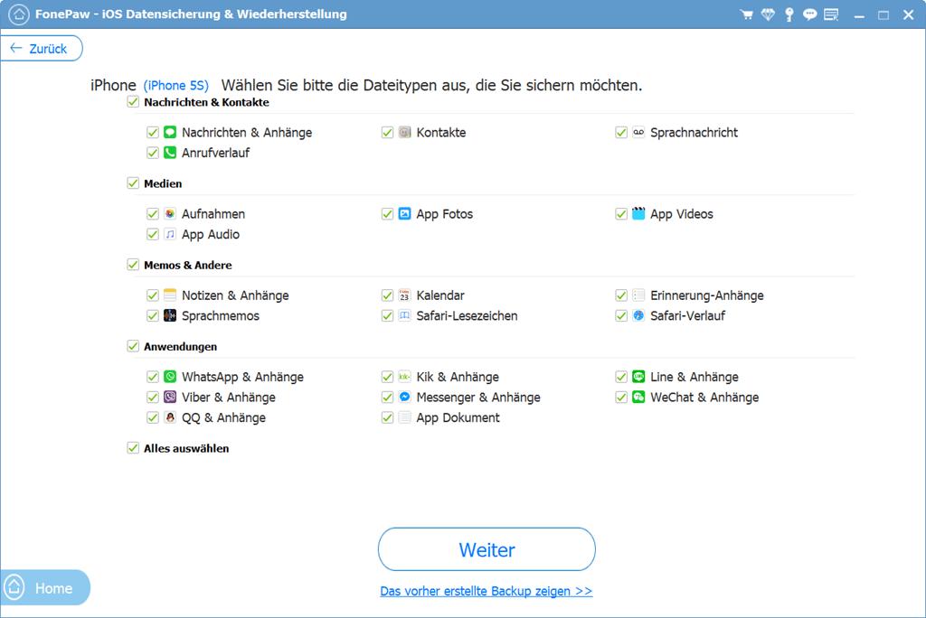 iOS Daten zum Backup auswählen