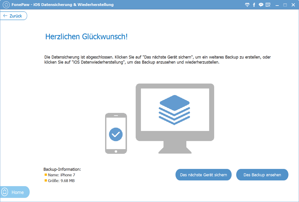 FonePaw iPhone Datensicherung Backup fertig