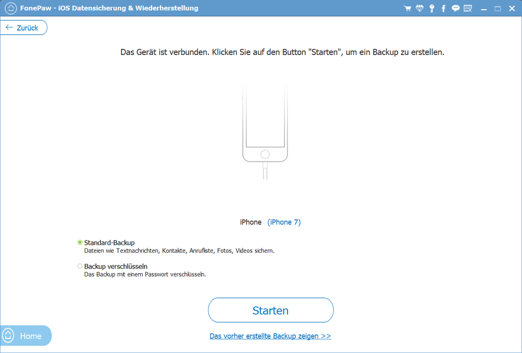 FonePaw iPhone Datensicherung Backup-Modus
