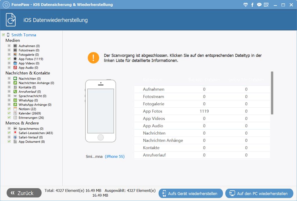 iOS Backup wiederherstellen