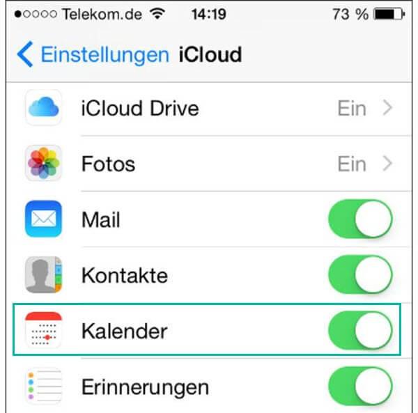 Kalender sichern iCloud
