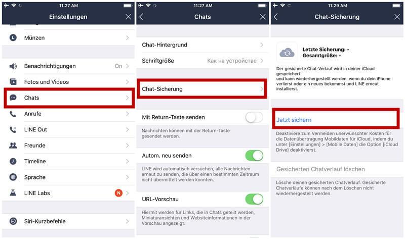Line-Chats auf iCloud sichern