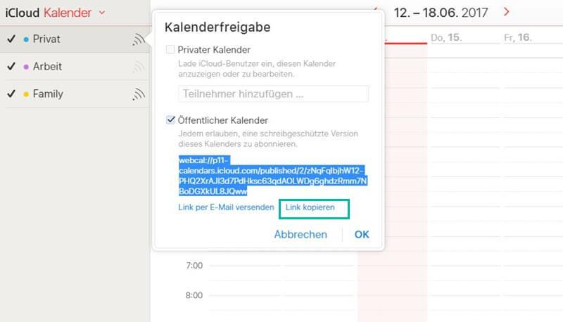 Link kopiere iCloud Kalenderfreigabe