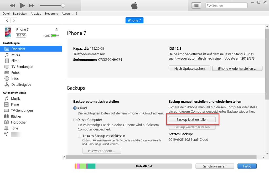 iPhone WeChat-Chatverlauf mit iTunes sichern