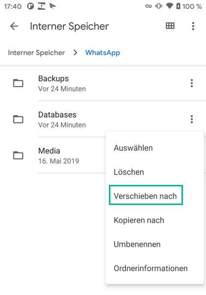 WhatsApp Backup Databases-Ordner verscieben